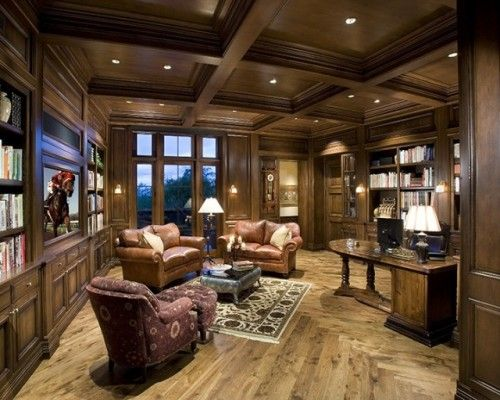Traditional home office, Hardwoods, Leather chairs, Professional, Built in shelves, Persian rug, Masculine, Coffered ceiling.