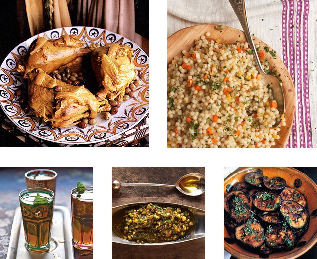 Menu: A Moroccan Buffet_  Entertain a small crowd with an indulgent spread layered with the spices of Morocco, including chicken roasted with preserved lemons, salads made with sweet peppers or tomatoes, creamy eggplant smothered in the tart North African marinade charmoula, and more. All of these dishes can be prepared ahead and served cold or at room temperature, perfect for serving as a picnic or a buffet dinner.