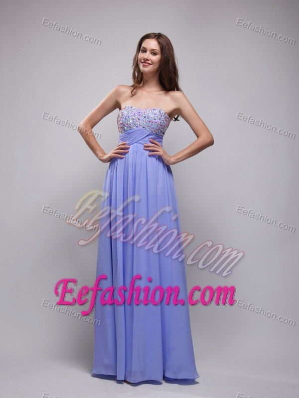 Lilac Empire Strapless Long Chiffon University Graduation Dress with Beading