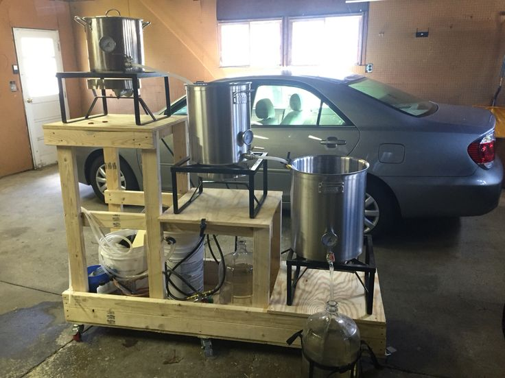 New brew rig. Converted old 5gal kettle to HLT. 10gal anvil kettle as mash tun. 15gal anvil kettle for the boil. Gonna enjoy this new 3 tier gravity setup.