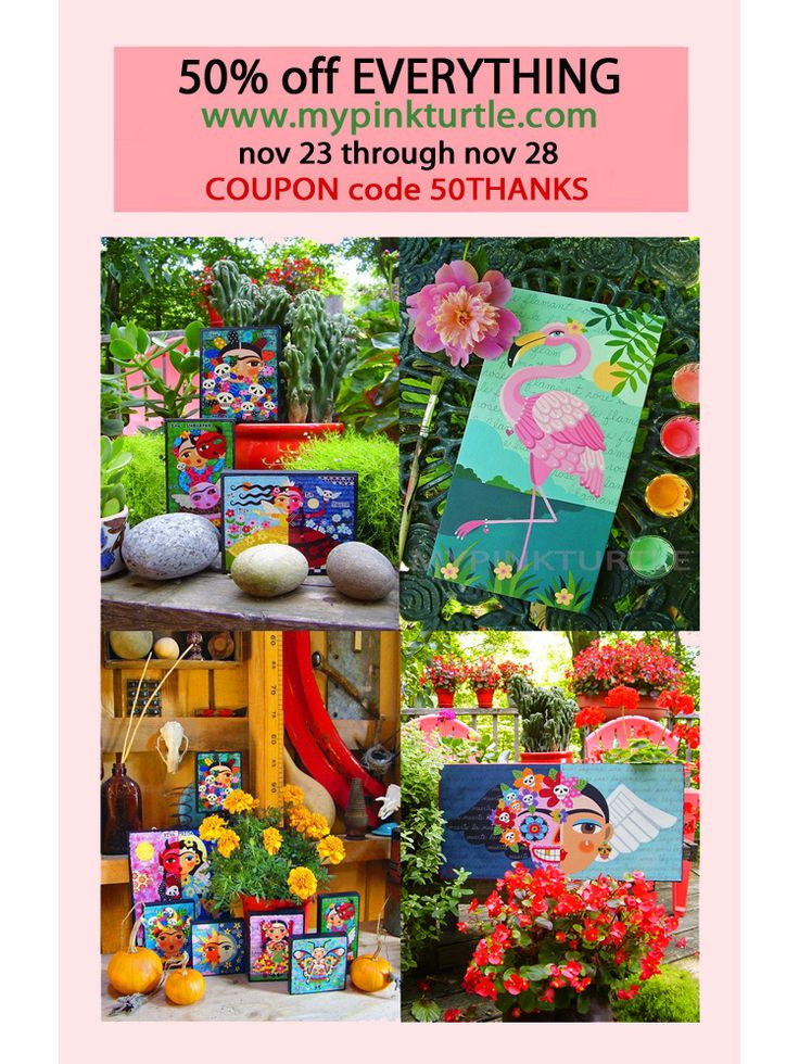 CYBER MONDAY SALE ! Check it OUT ! 50% off EVERYTHING in Mypinkturtle shop ! Prints, woodblocks and original paintings ! Frida Kahlo, Day of the Dead, dogs, cats, mermaids, angels, fairies ! With COUPON code 50THANKS Nov 23 through Nov 29 2017 ! Limited stock ! Hurry up !