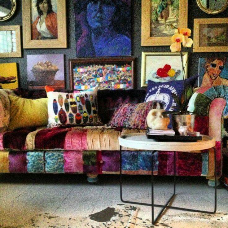 Love the rich bold colors in the sofa.