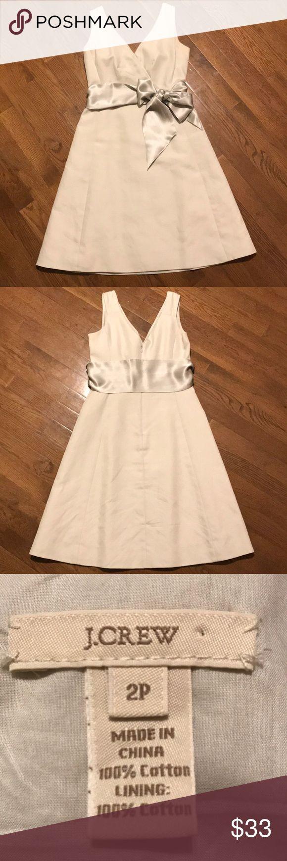 "J. Crew cream color dress with sash size 2P Beautiful cream colored A-line linen dress with 4.5"" satin sash. Lined. Zipper back. Worn once to a graduation. TTS. Smoke free/pet free home J. Crew Dresses"