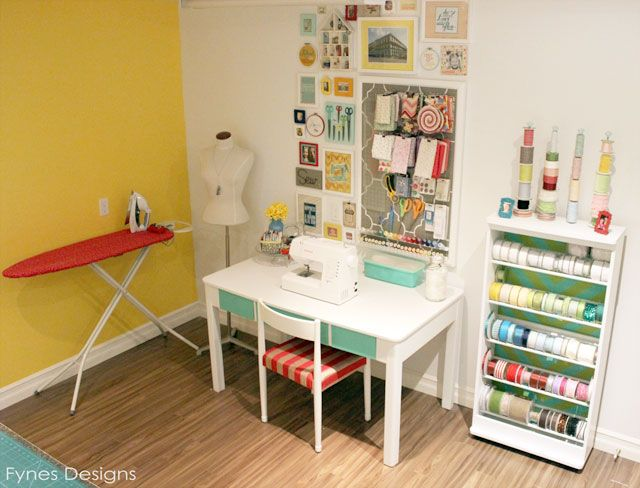 #papercraft #studio #craftroom Craft Room Reveal - FYNES DESIGNS  Like the red ironing board