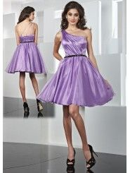 Organza Asymmetrical One-shoulder Ruffled Bodice Short Prom Dress