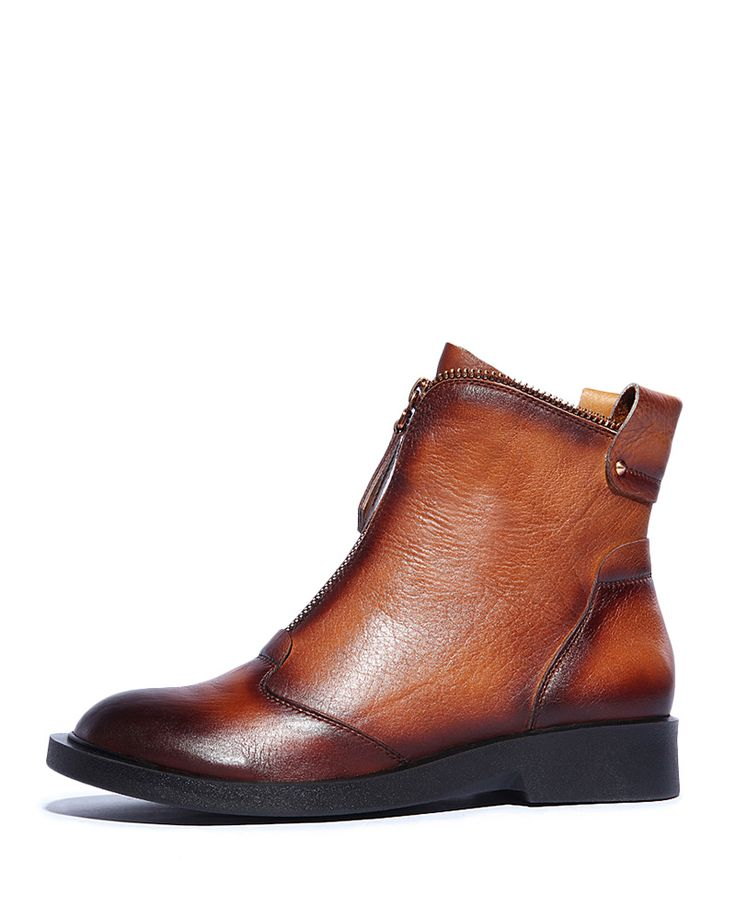 Almond-toe Rough-heel Zipped Boots |