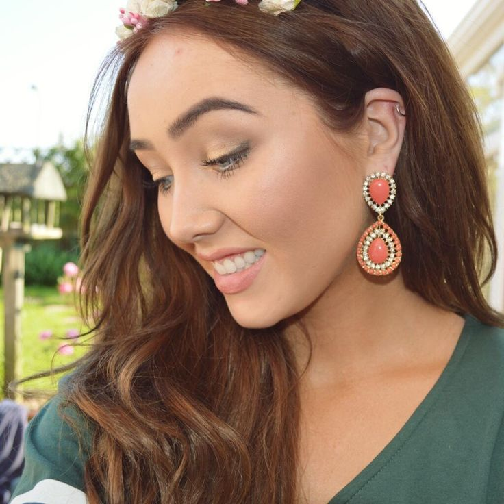 Gina aka Ohmygeeee in our Coral Bliss earrings / http://www.amidnightwonderland.com/product/coral-bliss-drop-earrings