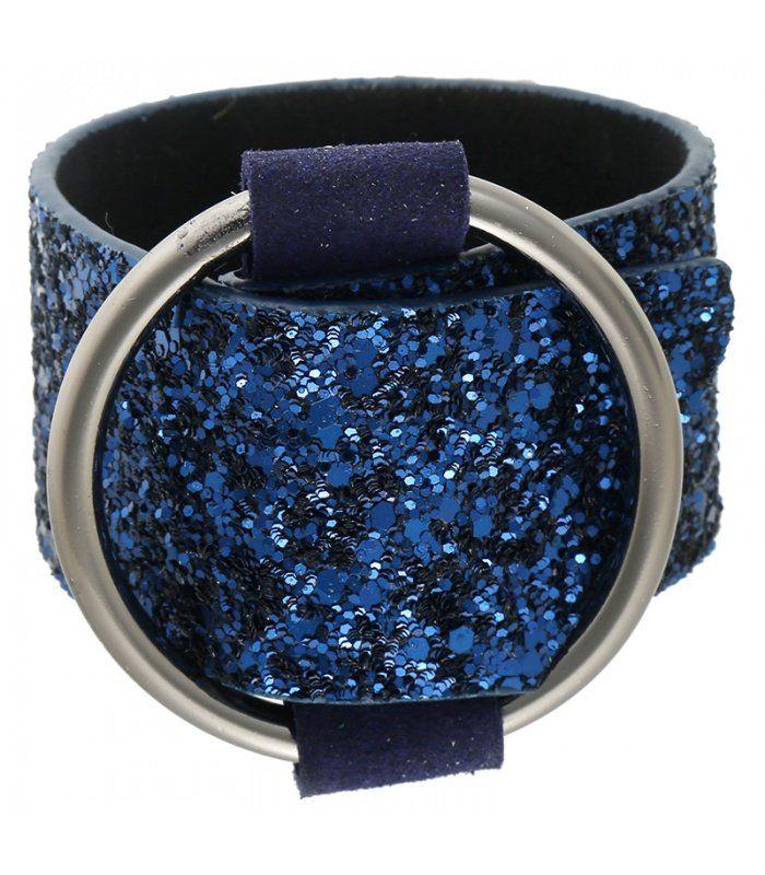 Brede armband metblauwe glitter