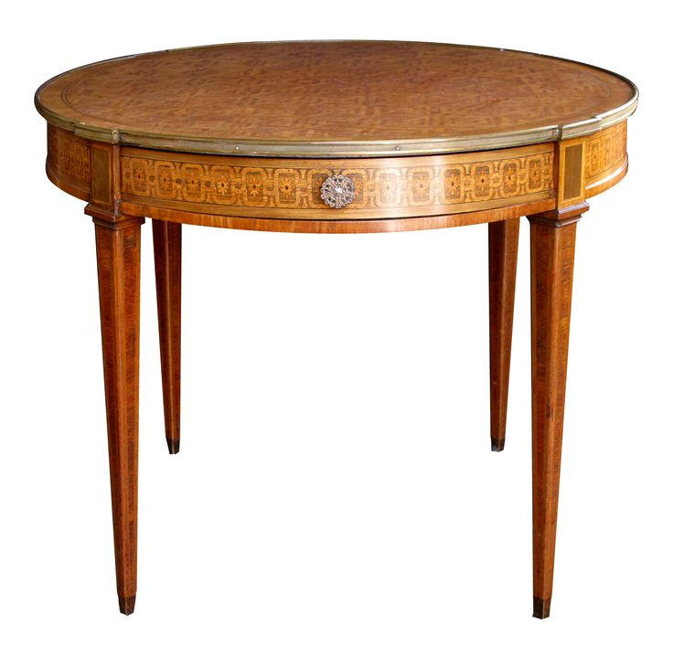 French Style Tiger Mahogany and Kingwood and Marquetry Inlaid Circular Bouillotte Table, circa 1880. Courtesy of epoca.