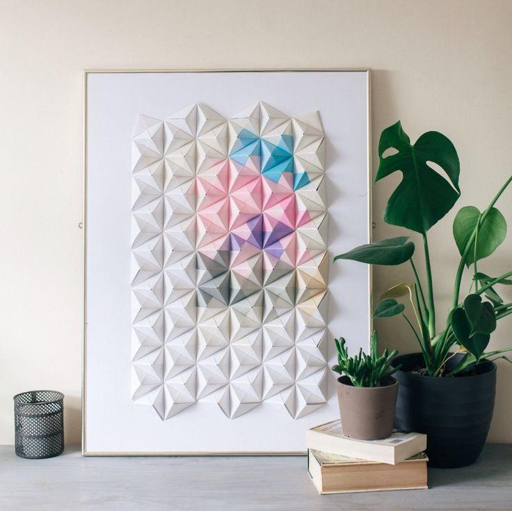 Sonobe unit origami wall art by Coco Sato http://cocosato ...