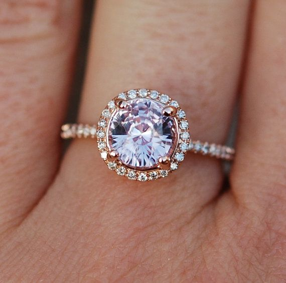 rose gold engagement ring color change sapphire diamond ring 14k rose gold round sapphire - Colored Wedding Rings