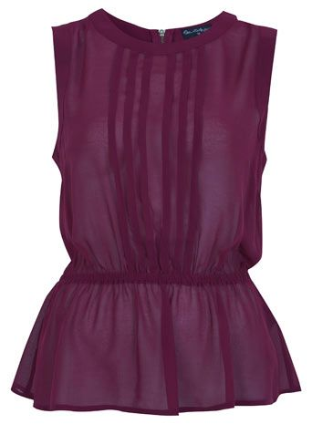 Burgundy Pleat Peplum Top