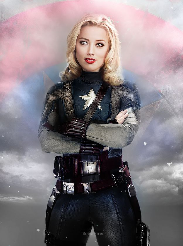 Amber Heard as Captain America | Someone Swapped The Genders Of The Avengers And It's Perfect