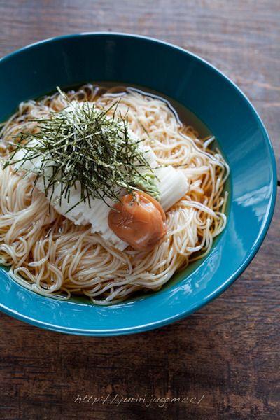 千切り山芋と梅干しの素麺(そうめん) by ゆりりさん | レシピブログ ...