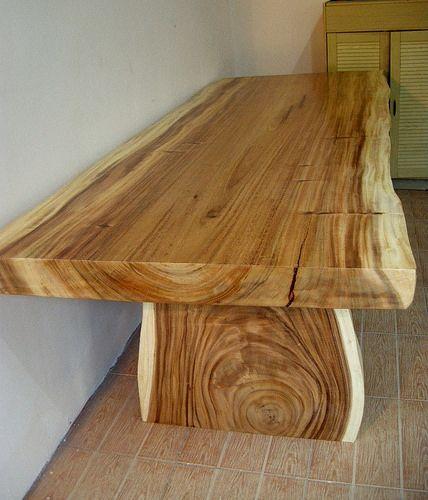 Solid Wood Slab Dining Table   by IndoGemstone