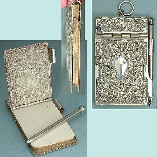 Antique Chatelaine Silver Aide-Memoir / Notebook * English * Circa 1890