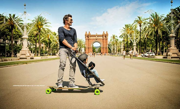 The Quinny Longboardstroller (600 euros) is built for caretakers who'd rather longboard than ride.