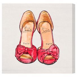 Really cute for a closet or dressing room. Canvas print showcasing a pair of Louboutin pumps. Made in the USA.    Product: Canvas printConstruction Material: Canvas and woodFeatures:  Limited open edition with certificate of authenticity by the artistMade in the USAReady to hang