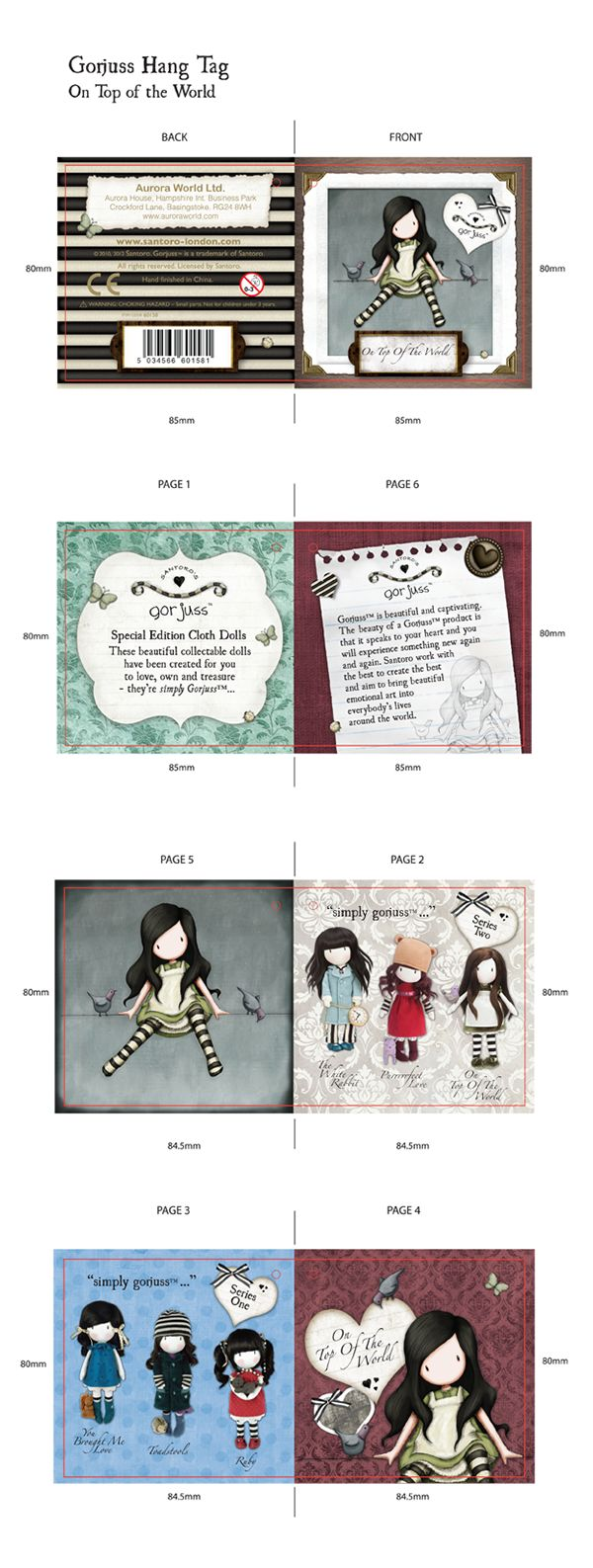 Final product Hang tag designs i created for the Santoro's Gorjuss range that were produced under license by Aurora World Ltd.
