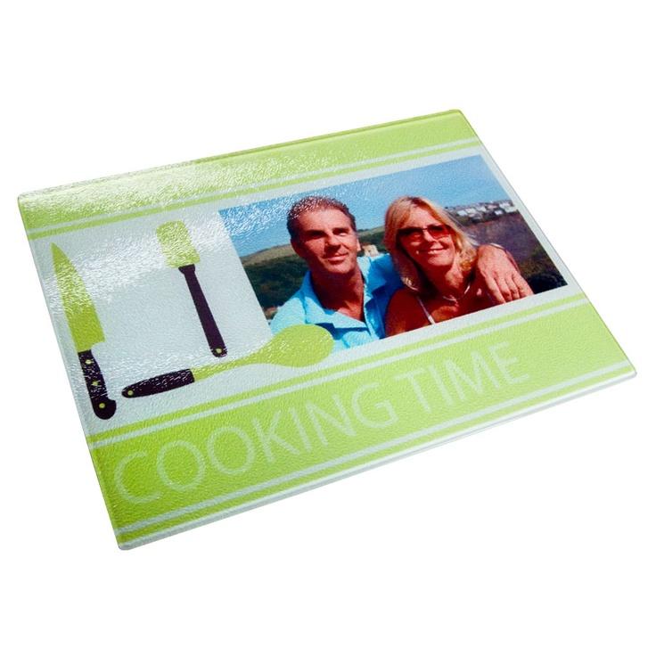 Schneidebrett aus Glas mit eigenem Foto und Text. Ein tolles Geschenk für alle Mütter, die gerne kochen!