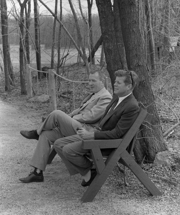 "President John F. Kennedy sat with Under Secretary of the Navy Paul ""Red"" Fay at Camp David in Frederick County, Md. Fay was there with his daughter Sally.    Photo courtesy of JFK Library"