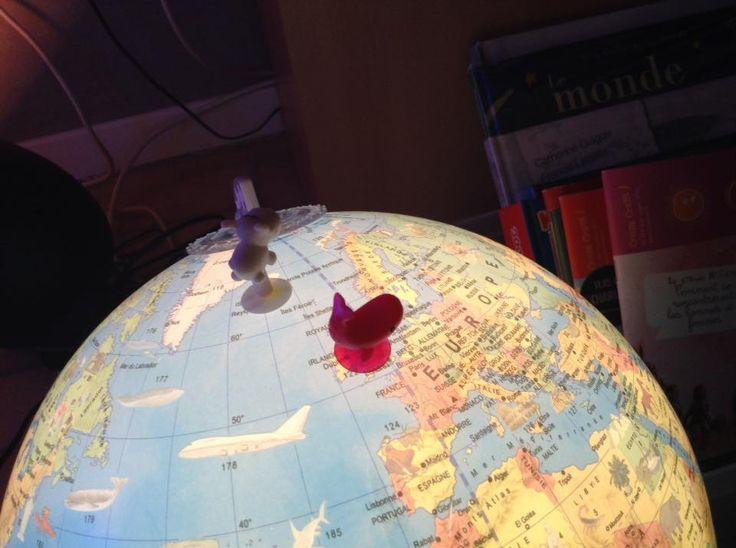 Chercher un endroit sur le globe ...