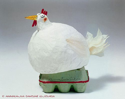 Anna Laura Cantone papier mache chicken