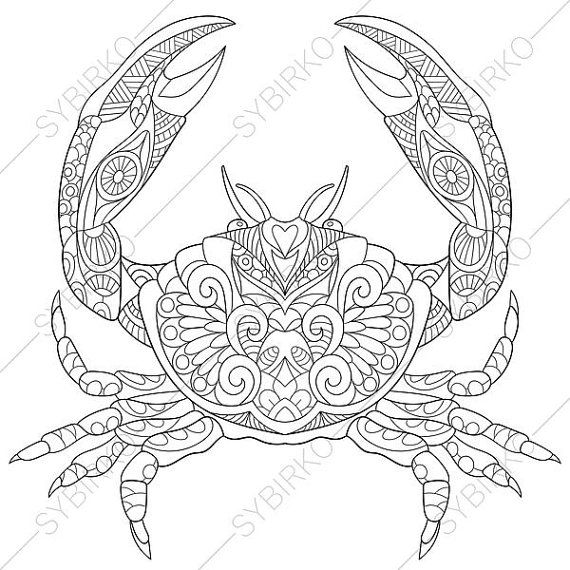 adult coloring page ocean crab zentangle doodle coloring pages for adults digital illustration instant download print