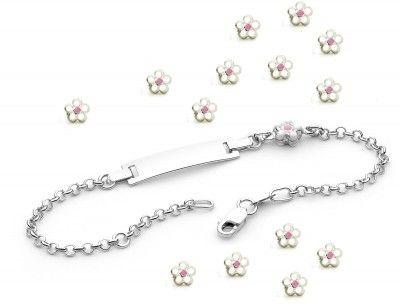 White Daisy Baby ID Bracelet, $89.95 at the Greek Wedding Shop ~ http://www.greekweddingshop.com/