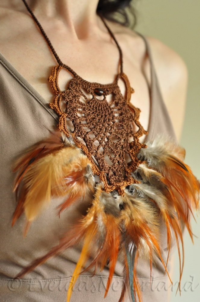 Dances With Wind - Native American culture inspired crocheted necklace, neckwear, fiber jewelry, fiber art with natural feathers by Evelda's Neverland