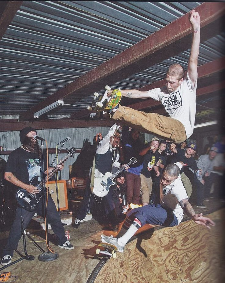 """Glad to see these Punks off the street…in a wooden mosh pit where they come alive to the sounds of Bad Shit's """"All Hail Cardiel!"""" Raney Beres frontside air over Andy Roy in Hammond, LA"""