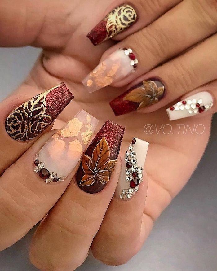 Red Glitter Gold White Nail Polish Rhinestones Burnt Orange Nails Long Coffin Nails In 2020 Fall Acrylic Nails Fall Nail Designs Fall Nail Art Designs