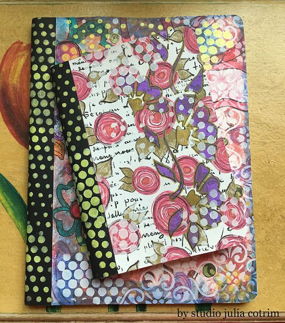 {new journals at my etsy store} journals, memories, mixed media, patterned paper, stationary, diary, flowers, polka dots, gold, notes, altered composition book