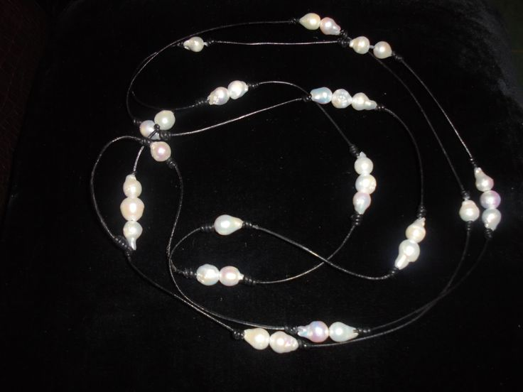 white barogue pearls and leather.