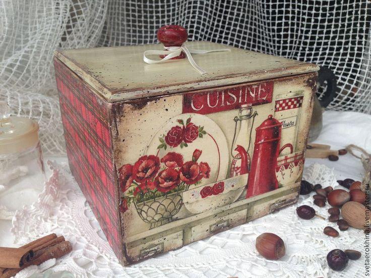 """Купить Шкатулка - короб """"Красный кофейник"""" - ярко-красный, натюрморт, посуда, кофейник, для дома и интерьера"""