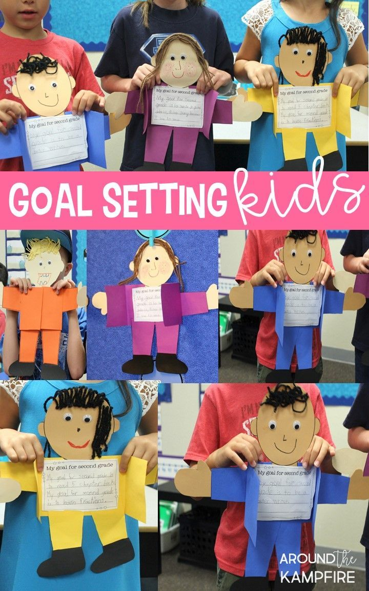 Setting learning goals at the start of a new school year helps keep students motivated and gives the teacher valuable insight into where they can offer extra support.  These goal setting kids are a fun activity for the first week of school and make a bright and colorful back to school craft and bulletin board. Read more about student goal setting and how we use math as a back to school getting to know you activity in this post.