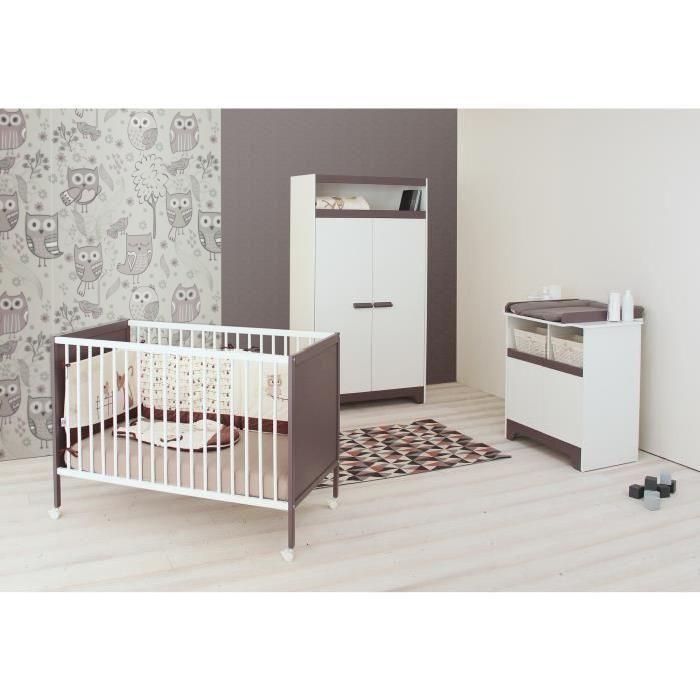 1 lit à barreaux, 1 armoire 2 portes et 1 commode à langer - Mixte - Dès la naissance - Livré à l'unité