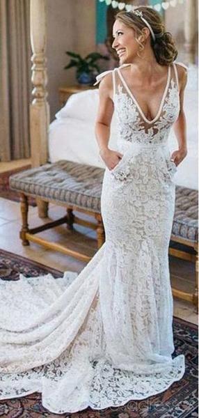 V-neck Lace Mermaid Cheap Wedding Dresses Online, Cheap Lace Bridal Dresses, WD478