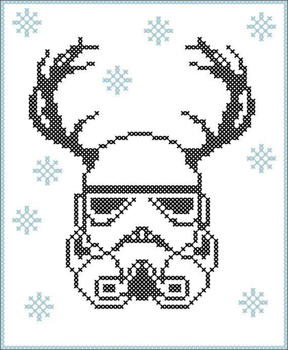 BOGO FREE! Merry Christmas - FUNNY Christmas deer Stormtrooper Star wars Cross Stitch Pattern - pdf pattern instant download #189