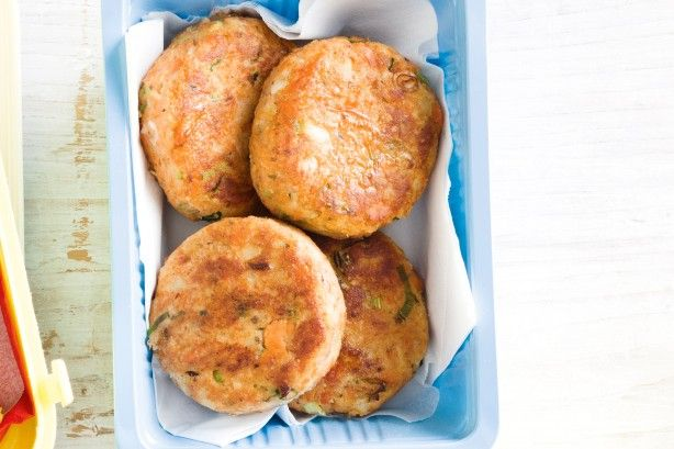 These salmon patties are a filling alternative to sandwiches in the school lunch-box.