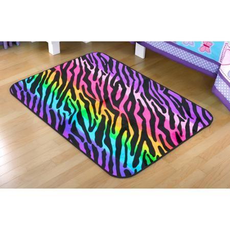 "your zone rainbow zebra faux mink rectangular rug, multi-color, 2'6"" x 3'10"" - Walmart.com"
