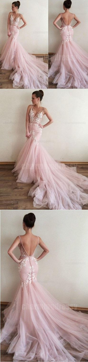 Pink V Back Mermaid Silhouette Long Train Sleeveless Popular Charming Fshion Prom Dresses, Ball Gown, PD0463