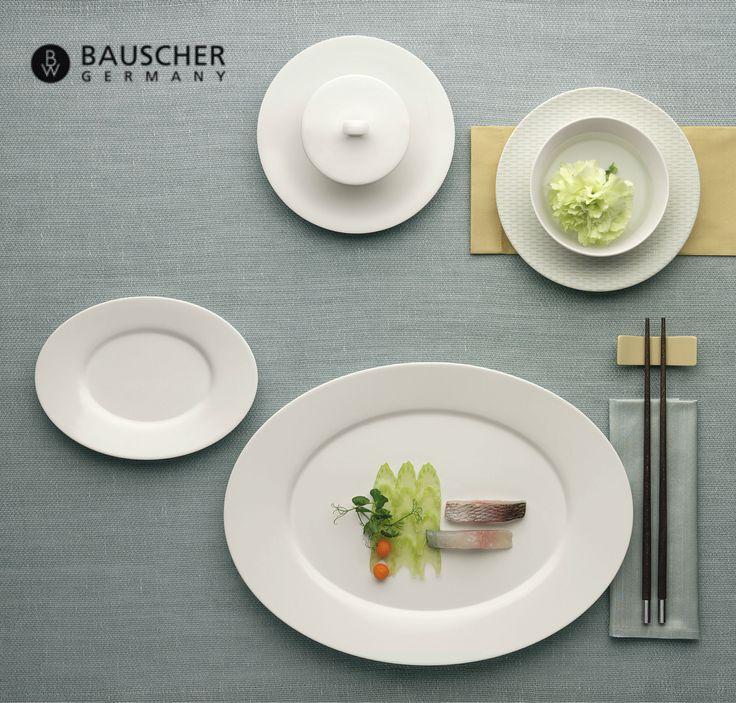 Geometría fresca: platos ovalados de porcelana noble. Purity de Bauscher.
