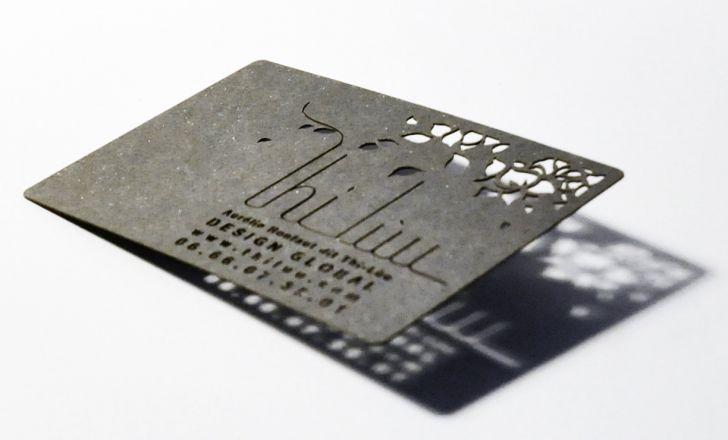 Carte de visite design avec découpe au laser