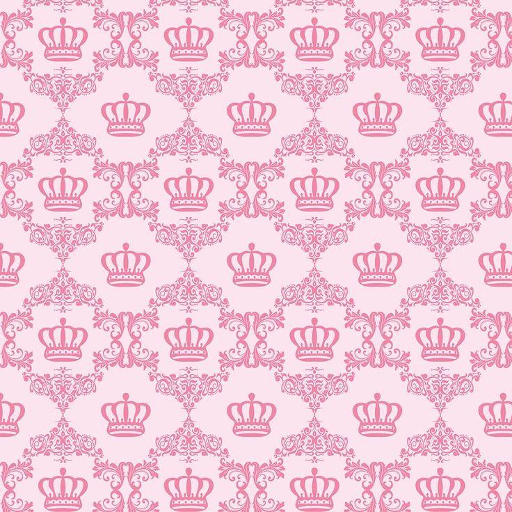 Papel de Parede Arabesco com Coroas em Tons de Rosa, Azul marinho e Azul Tiffany - Papel de Parede Digital