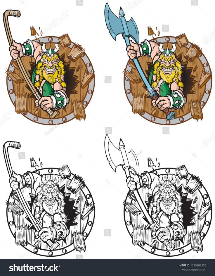 Vector Cartoon Clip Art Illustration Of A Viking Mascot Breaking Or Crashing Through Of A Wood Shield With Two Optio Cartoon Clip Art Illustration Art Clip Art
