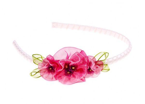Souza for Kids - Tiara Acacia  Lichtroze diadeem met fuchsia kleurige organza bloemen.