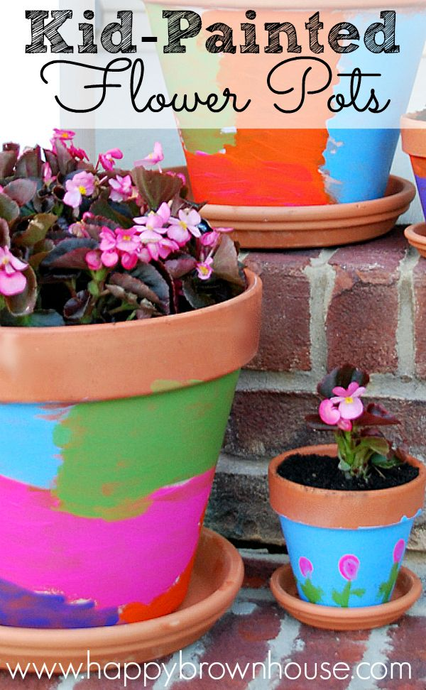 Kid Painted Flower Pots are a great way to add a little color to your porch and they make great gifts for loved ones! Perfect for a homemade Mother's Day gift from the kids. Include the kids in planting and taking care of the flowers for a fun family activity.