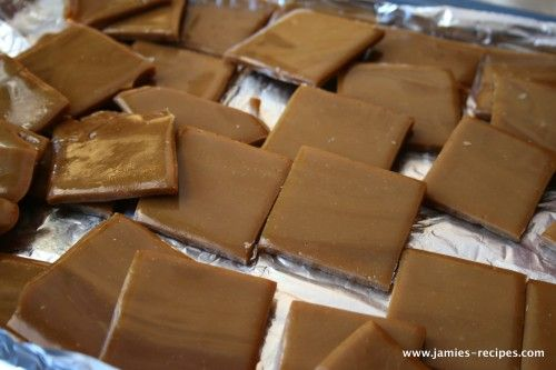 Homemade Heath bars:  Make them even easier by allowing the chocolate chips to melt on top of the warm toffee and then spread it out.  Break the toffee into pieces once cooled.