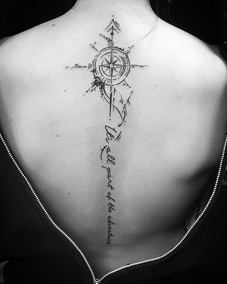 Compass and Quote Spine Tattoo